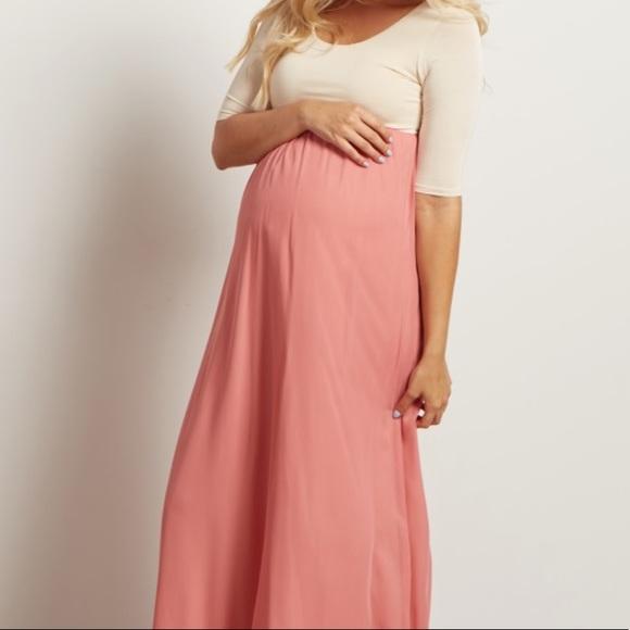 9a1467b0c24c1 Pinkblush Dresses | Blush Pink Chiffon Colorblock Midi Maternity ...